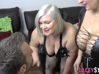 Gran in latex throats and gets plowed