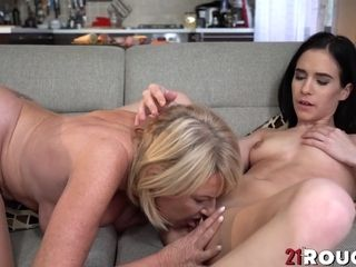 Young lesbo babe Nikki Fox licks and fingers mature Milf Amy