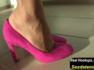 Pink Pumps with Transparent Nylon