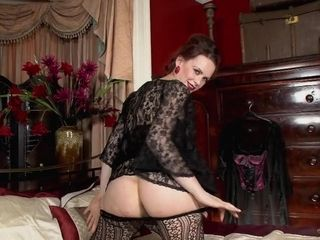 Antique nymph with stockings and unshaved cunt