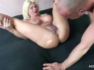 German Cougar with Hairy Pussy and Piercing get Rough Fuck