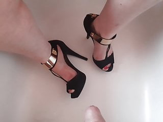 BBW Feet in Heels get pissed on - Wife