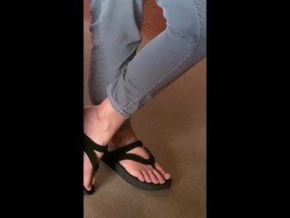 Petite hippie neighbor's feet from my view sitting down (no sound)!